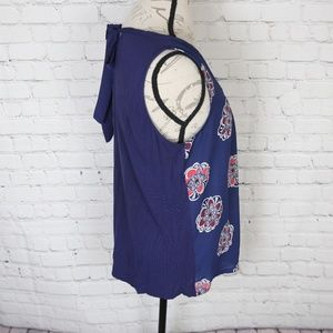 Express Tops - Express Sleeveless Floral Print Blouse in Navy